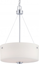 "Soho Polished Chrome & Glass Drum Pendant Light 17""Wx23""H"