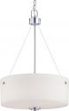 "Soho Polished Chrome & Glass Drum Pendant Light 17""Wx23""H"