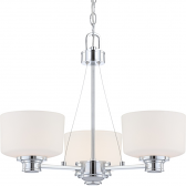 "Soho Polished Chrome Chandelier Glass Shades 22""Wx18""H"
