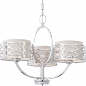 "Harlow Nickel Chandelier Gray Drum Shades 25""Wx20""H"