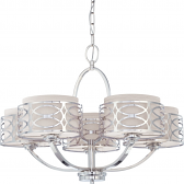 "Harlow Nickel Chandelier Gray Drum Shades 28""Wx20""H"