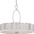 "Harlow Nickel Gray Drum Pendant Light 24""Wx20""H"