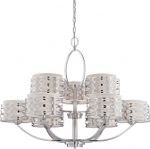 "Harlow Nickel Chandelier Gray Drum Shades 38""Wx29""H"
