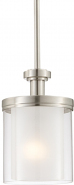 "Decker Brushed Nickel Drum Glass Mini Pendant Light 6""Wx35""H"