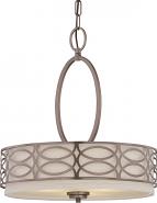 """Harlow Hazel Bronze Linen Drum Pendant Light 18""""Wx20""""H"""