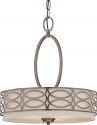 "Harlow Hazel Bronze Linen Drum Pendant Light 18""Wx20""H"