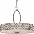 "Harlow Hazel Bronze Linen Drum Pendant Light 24""Wx20""H"