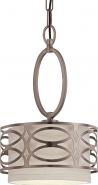 """Harlow Hazel Bronze & Gray Linen Drum Pendant Light 9""""Wx15""""H"""