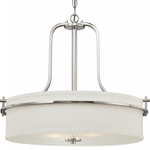 "Loren Nickel Linen Drum Pendant Light 22""Wx20""H"