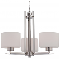 """Parallel Polished Nickel Chandelier Drum Glass 23""""Wx17""""H"""