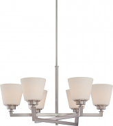 "Mobili Brushed Nickel Chandelier White Glass 28""Wx53""H"