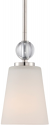 "Connie Polished Nickel White Glass Mini Pendant Light 5""Wx48""H"