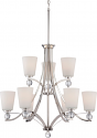 "Connie Polished Nickel Chandelier White Glass 30""Wx41""H"