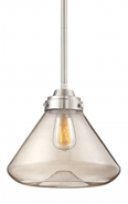 """Neo Industrial Nickel Pendant Light Clear Glass 12""""Wx48""""H"""