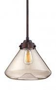"""Neo Industrial Bronze Pendant Light Clear Glass 12""""Wx48""""H"""