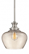 """Neo Industrial Nickel Pendant Light Clear Glass 11""""Wx49""""H"""