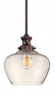 """Neo Industrial Bronze Pendant Light Clear Glass 11""""Wx49""""H"""