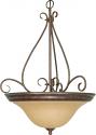 "Castillo ORB Bronze Champagne Glass Bowl Pendant Light 20""Wx28""H"
