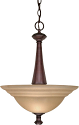 "Mericana Old Bronze Pendant Amber Glass 16""Wx22""H"