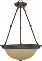 "Mahogany Bronze Champagne Linen Glass Pendant Light 15""Wx23""H"