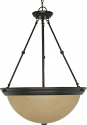"Mahogany Bronze Champagne Linen Glass Pendant Light 20""Wx28""H"