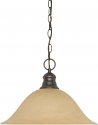 "Mahogany Bronze Champagne Linen Glass Pendant Light  16""Wx11""H"