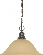 "Mahogany Bronze Champagne Linen Glass Pendant Light 16""Wx11""H"