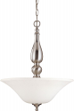 "Dupont Brushed Nickel Pendant Light Glass Shades 16""Wx20""H"