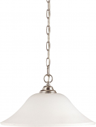 "Dupont Brushed Nickel Pendant Light Glass Shades 16""Wx10""H"