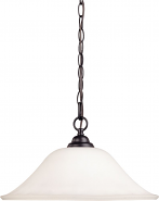"Dupont Dark Bronze Pendant Light Glass Shades 16""Wx10""H"