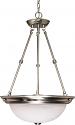 "Brushed Nickel & Alabaster Glass Bowl Pendant Light 15""Wx23""H"