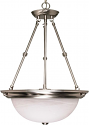 "Brushed Nickel & Alabaster Glass Bowl Pendant Light 20""Wx28""H"