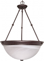 "Old Bronze Alabaster Glass Pendant Light 20""Wx28""H"