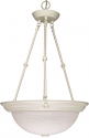 "Textured White Alabaster Glass Bowl Pendant Light 15""Wx23""H"