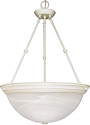 "Textured White Alabaster Glass Bowl Pendant Light 20""Wx28""H"