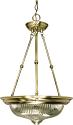 "Antique Brass & Clear Swirl Glass Pendant Light 15""Wx23""H"