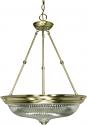 "Antique Brass & Clear Swirl Glass Pendant Light  20""Wx28""H"