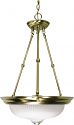 "Antique Brass & Frosted Swirl Glass Pendant Light 15""Wx23""H"
