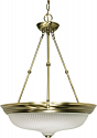 "Antique Brass & Frosted Swirl Glass Pendant Light  20""Wx28""H"