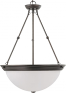 "Mahogany Bronze Frosted White Glass Pendant Light 20""Wx28""H"