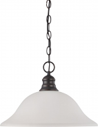 "Mahogany Bronze Frosted White Glass Pendant Light 16""Wx11""H"