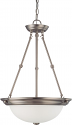 """Brushed Nickel Small Pendant Light Frosted Glass Shade 15""""Wx23""""H"""