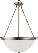 "Nickel & Frost Glass Bowl Pendant Light 20""Wx28""H"