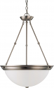 """Brushed Nickel Medium Pendant Light Frosted Glass Shade 20""""Wx28""""H"""