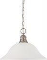 """Brushed Nickel Pendant Light Frosted White Glass Shade 16""""Wx11""""H"""
