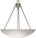 "Large Alabaster Glass Pendant Light Nickel Frame 22""Wx17""H"