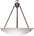 "Old Bronze Alabaster Glass Pendant Light 22""Wx17""H"