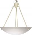 "Large Alabaster Glass Pendant Light White Frame 22""Wx17""H"