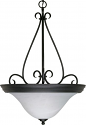 "Castillo Flat Black Pendant Light Alabaster Shade 20""Wx28""H"