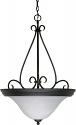 "Castillo Flat Black Pendant Light Alabaster Shade 20""Wx28""H"